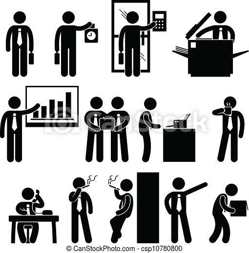 employé, homme affaires, travail, business - csp10780800