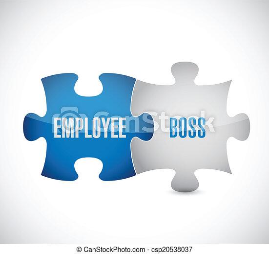 employee boss puzzle pieces illustration design - csp20538037