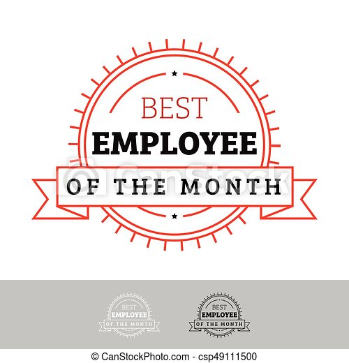 Employee of the month vintage sign vector.