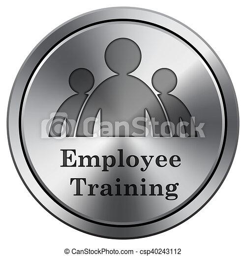 Employee training icon. Round icon imitating metal. - csp40243112