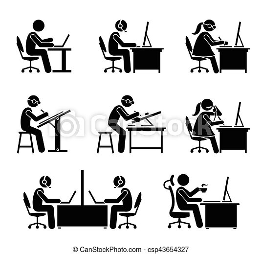 Employee working with computer and laptop at office. - csp43654327