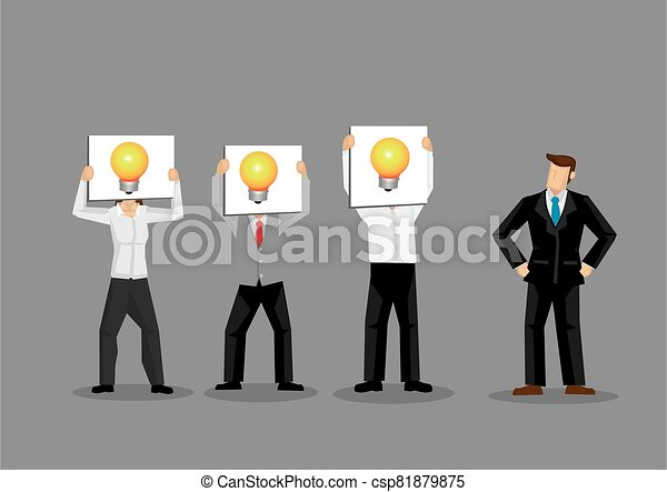 Employees Holding Light Bulb Cards in Front of Faces Cartoon Vector Illustration - csp81879875