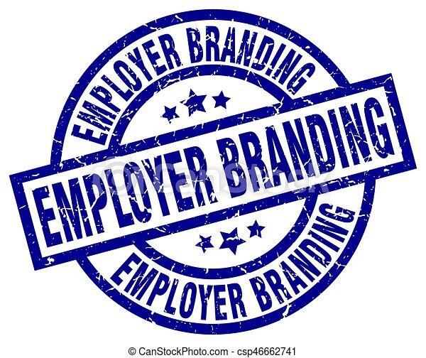 employer branding blue round grunge stamp - csp46662741