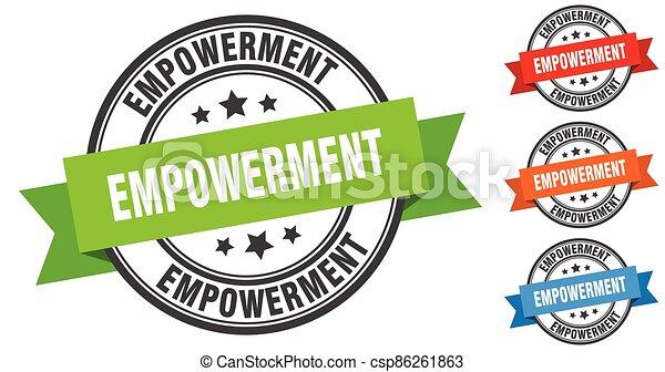 empowerment stamp. round band sign set. label - csp86261863