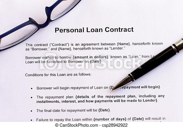 empréstimo, pessoal, contrato - csp28942922