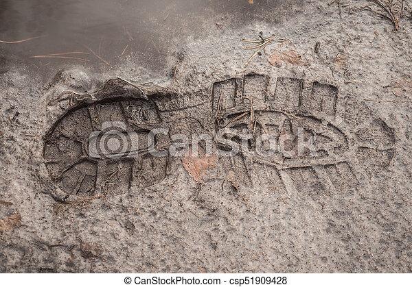 empreinte, boue, chaussure - csp51909428