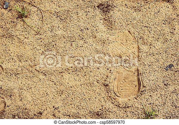 empreinte, sable, chaussure, mouillé - csp58597970