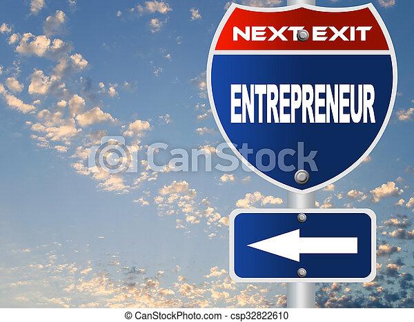 empresário, sinal estrada - csp32822610