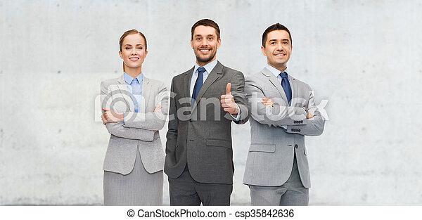 empresa / negocio, actuación, arriba, pulgares, equipo, feliz - csp35842636
