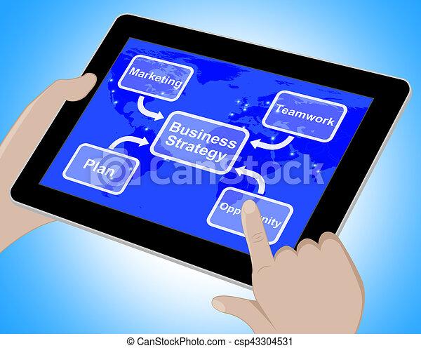 El diagrama de estrategia de negocios muestra trabajo en equipo 3D - csp43304531