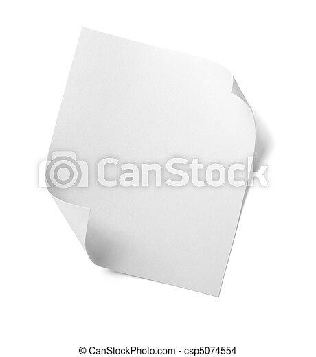 empresa / negocio, etiqueta, note papel, blanco, mensaje - csp5074554