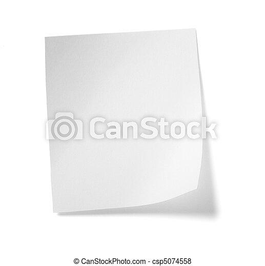 empresa / negocio, etiqueta, note papel, blanco, mensaje - csp5074558