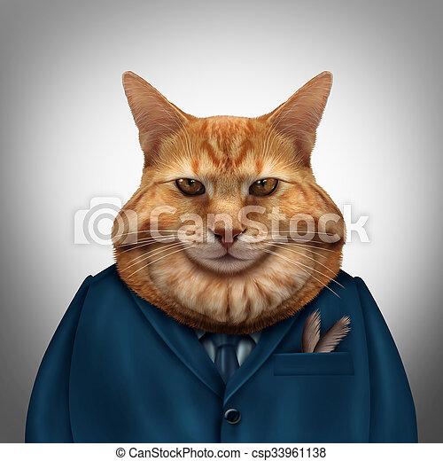 Gato gordo de negocios - csp33961138