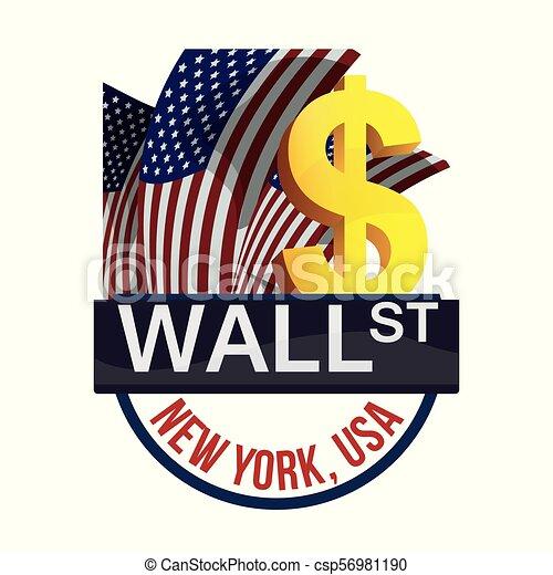 Wall Street New York intercambia dinero - csp56981190
