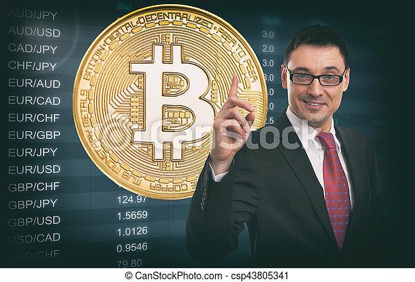 Idea de negocios. La tasa de cambio de moneda. Bitcoin. - csp43805341