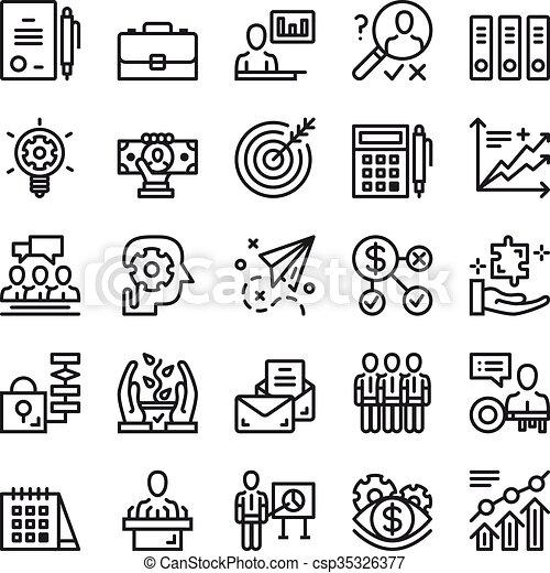 Los iconos de la línea delgada - csp35326377