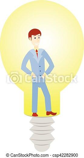 El personaje de un hombre de negocios tiene una idea para empezar y en la lámpara. - csp42282900