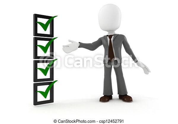 Hombre de negocios 3D y lista de comprobación, en antecedentes blancos - csp12452791