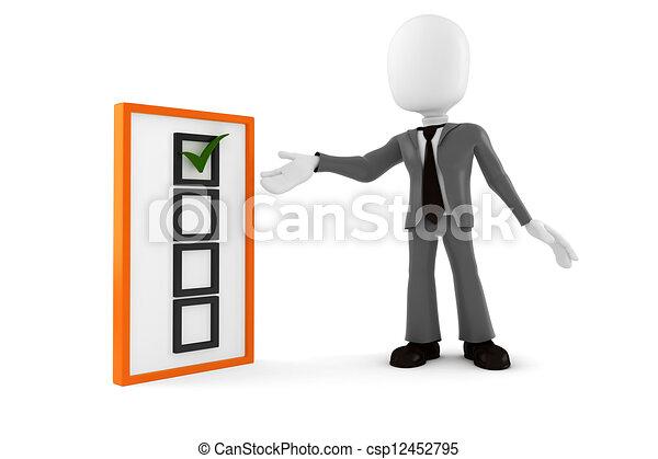 Hombre de negocios 3D y lista de comprobación, en antecedentes blancos - csp12452795