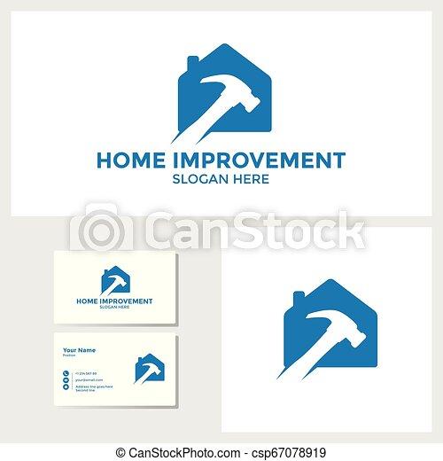El logotipo de mejora del hogar diseño inspiración con la maqueta de tarjetas de negocios - csp67078919