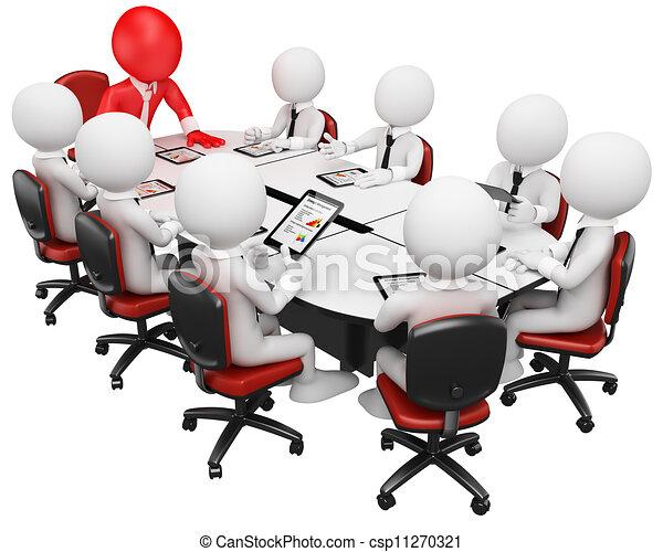 3D negocios blancos. Reunión de negocios - csp11270321