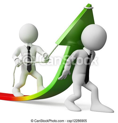 Gente de negocios en 3D. Crecimiento de ventas - csp12286905