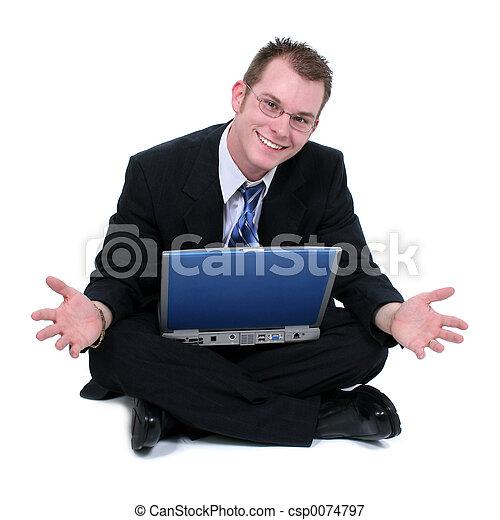 empresa / negocio, piso, computador portatil, sentado, manos, hombre, afuera - csp0074797