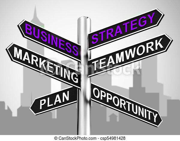 Señales de estrategia de negocios mostrando marketing de trabajo en equipo 3d ilustración - csp54981428