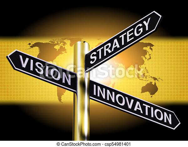 Estrategia de estrategia de innovación. Muestra liderazgo empresarial 3d ilustración - csp54981401