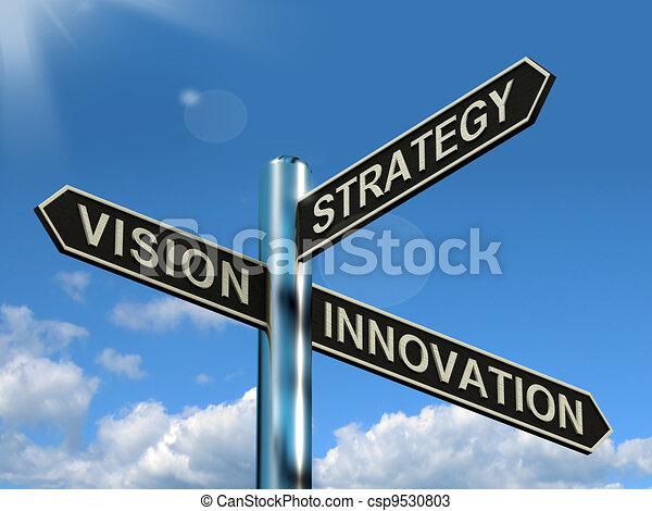 El signo de innovación de la estrategia de visión muestra liderazgo empresarial - csp9530803