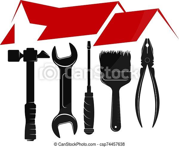empresa / negocio, símbolo, reparación, caja, herramienta - csp74457638