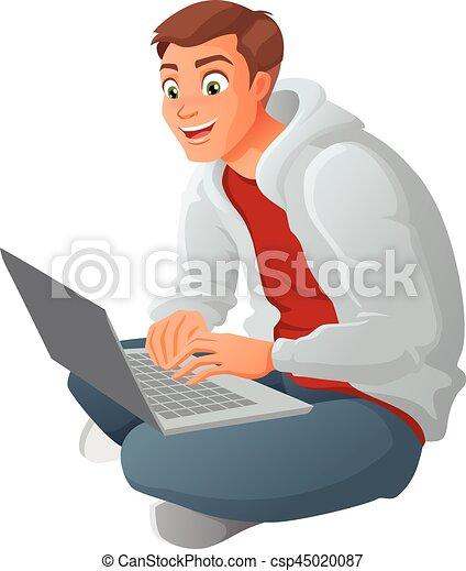 Un joven hombre de negocios con portátil sentado en el suelo. Ilustración de vectores de cartón aislada en fondo blanco. - csp45020087