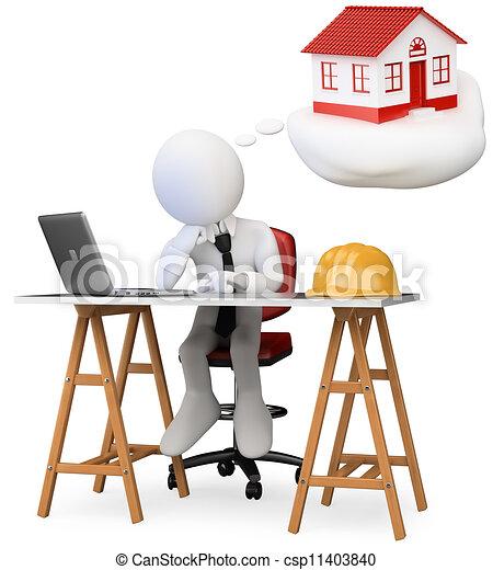 3a persona de negocios blanca soñando en su oficina con su nuevo hogar con una computadora sobre la mesa. 3d imagen. Un fondo blanco aislado. - csp11403840