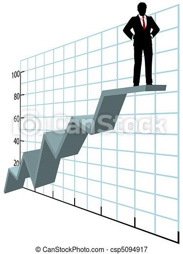 empresa / negocio, sobrepase arriba, gráfico, crecimiento, compañía, hombre - csp5094917