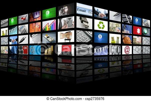 empresa / negocio, televisión, pantalla grande, internet, panel - csp2735976