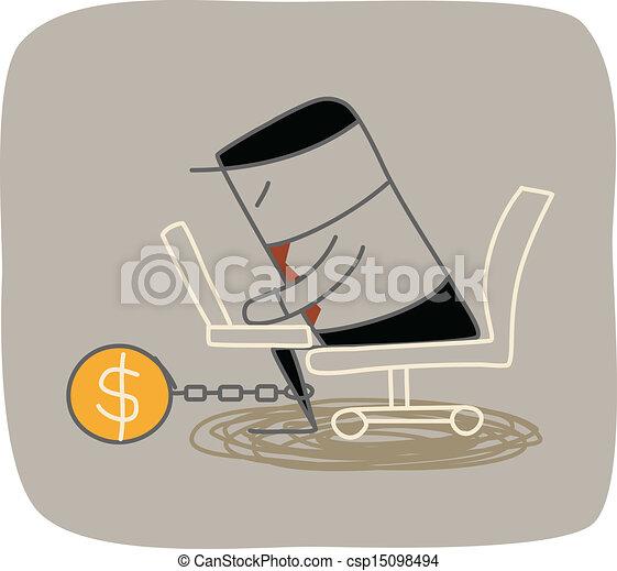 Hombre de negocios encerrado trabajando duro por dinero - csp15098494