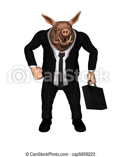 Dibujos de empresa  negocio vestido enojado cerdo 2 hombre