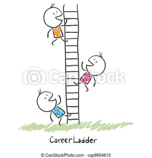 Gente de negocios subiendo por la escalera corporativa. Ilustración conceptiva de carrera - csp9904610