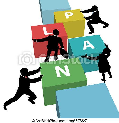 empresarios, juntos, plan, equipo, empujón - csp6507827