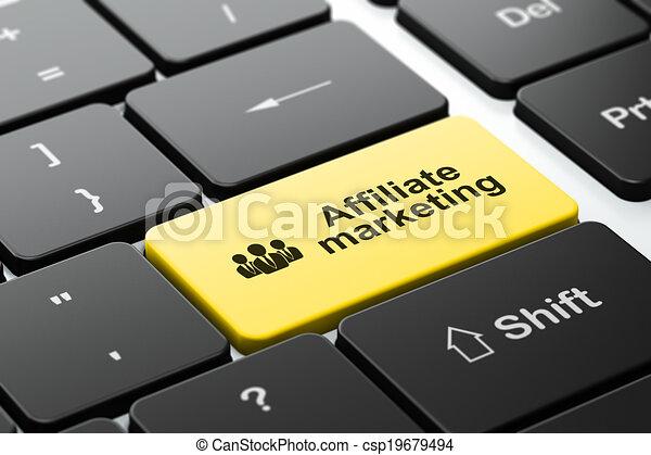Concepto de negocios: gente de negocios y marketing afiliado en el fondo del teclado - csp19679494