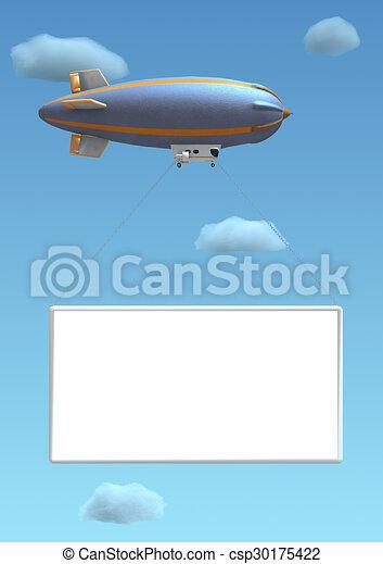 Empty 3D billboard hanged on a blim - csp30175422