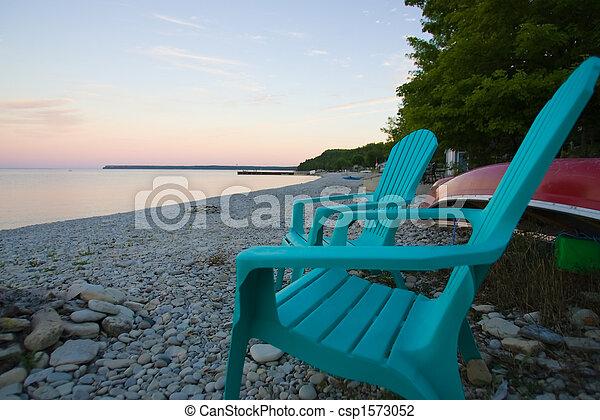 adirondack chairs on beach. Empty Adirondack Chairs On The Beach - Csp1573052 Adirondack