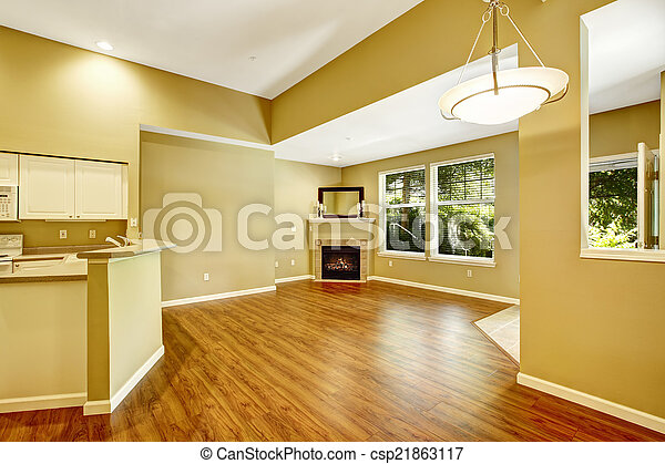 Empty apartment with open floor plan. Living room with fireplac - csp21863117