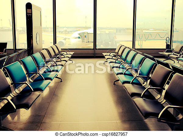 Empty armchairs in hall of airport ,with a retro effect - csp16827957