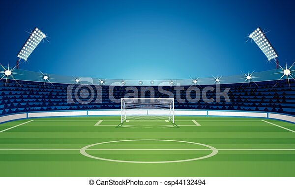 Empty Backdrop Template with Soccer Field Stadium - csp44132494