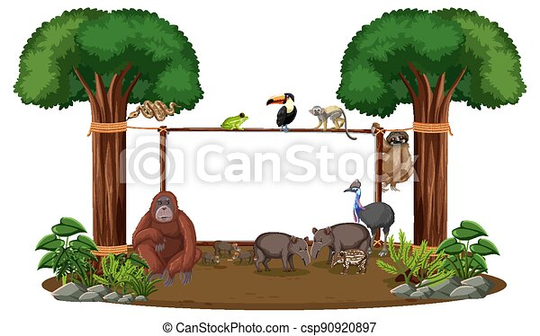 Empty banner with wild animals and rainforest trees on white background - csp90920897