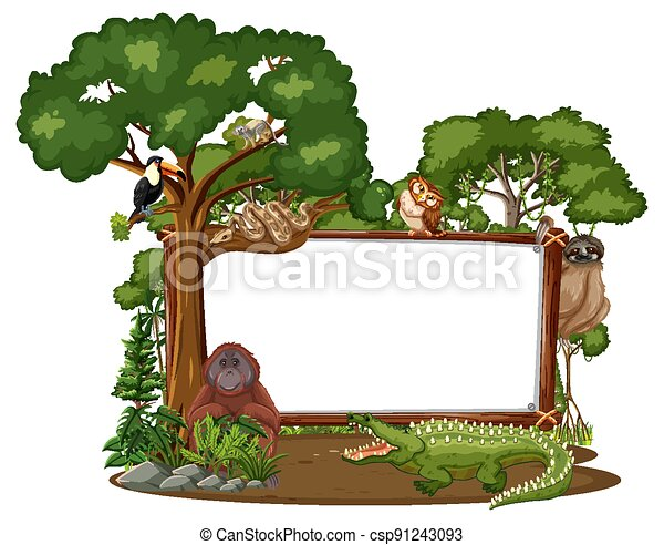 Empty banner with wild animals and rainforest trees on white background - csp91243093