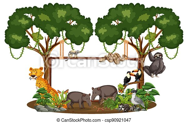 Empty banner with wild animals and rainforest trees on white background - csp90921047