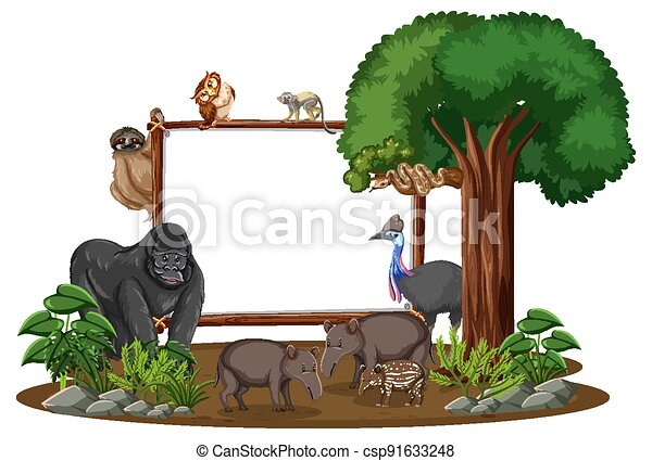 Empty banner with wild animals and rainforest trees on white background - csp91633248