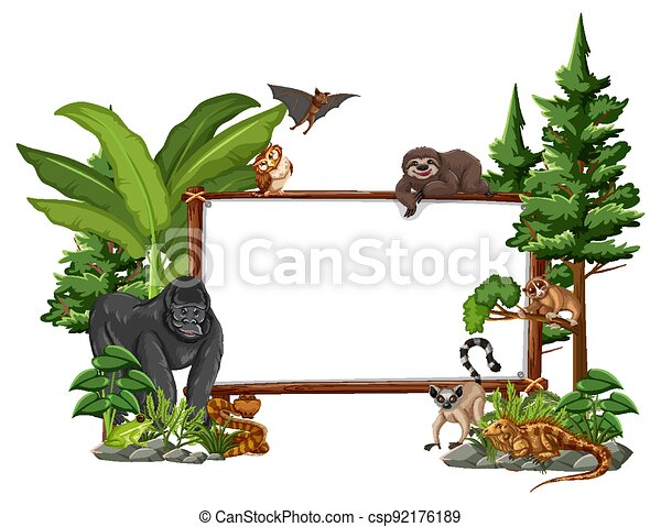 Empty banner with wild animals and rainforest trees on white background - csp92176189